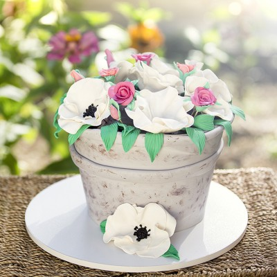 کیک گلدان
