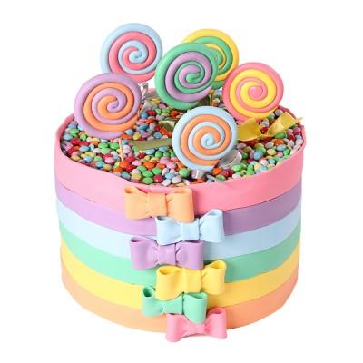 کیک آبنبات رنگی