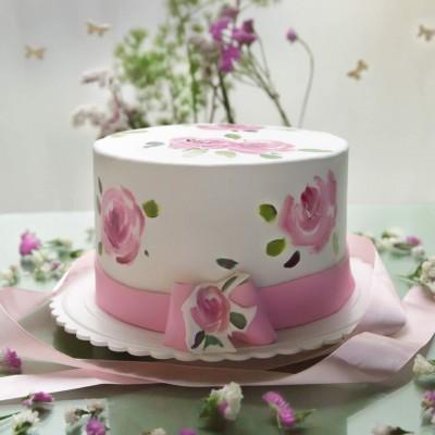 کیک نقاشی گل