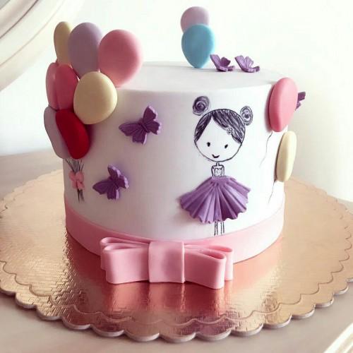کیک دختر و بادکنک